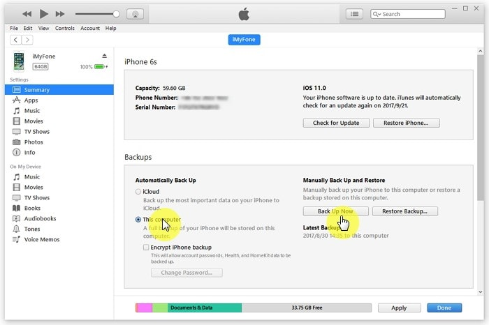 iphone sms backup 1 min