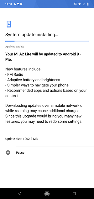 mi a2 lite android 9 pie screen 3