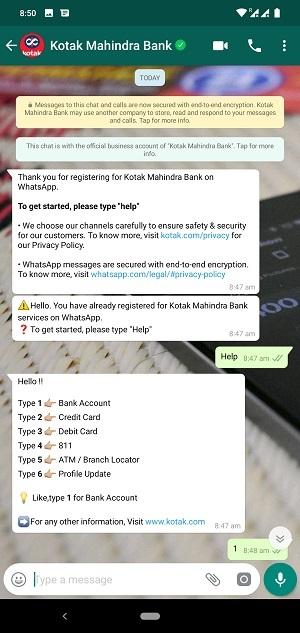 kotak mahindra whatsapp banking screen 2