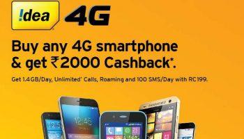 Idea Mobile is Offering Rs. 2000 Cashback for New 4G Handsets