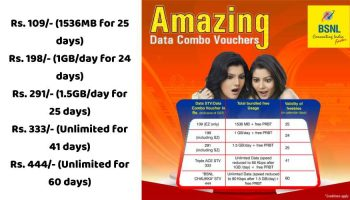 BSNL Introduced 5 New Data Combo Plan Starting From Rs. 109 to Rs. 444