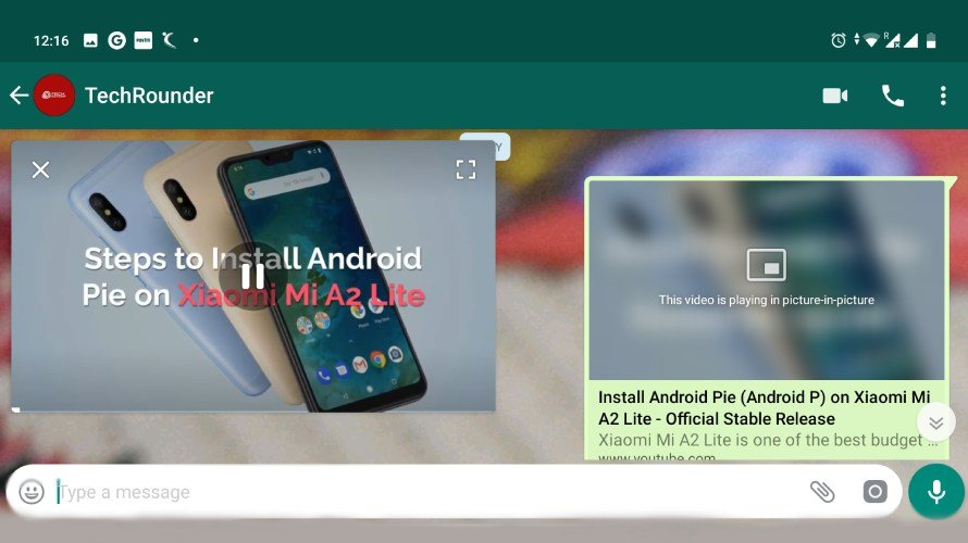 Whatsapp Picture-in-Picture YouTube Playback