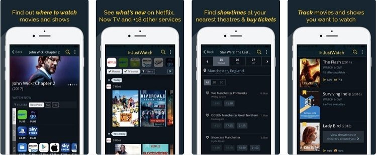 Search your Streaming Service using Just Watch Mobile App