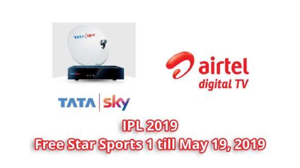 tata sky airtel digital tv free ipl 2019